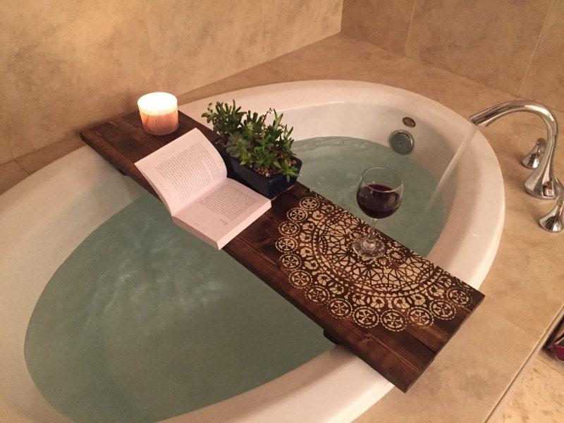 Bath Caddy | Mandala| CUSTOMIZE BATH Caddy | Bath Tub Tray | Tub Caddy | Bath  Tray   Housewarming Gift