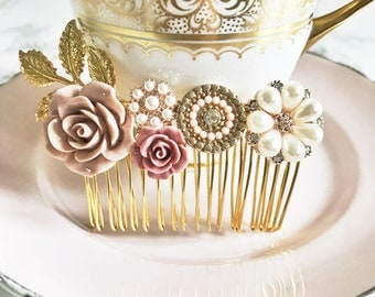 Hair comb, hair accessory, gold, pink, bridesmaid, flower girl