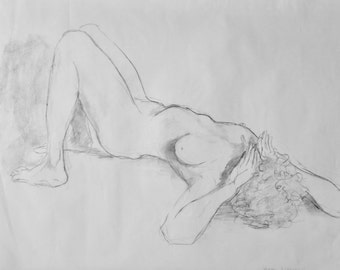 Original Life Drawing 2, Pencil, Nude Sketch, Dessin, Woman, Art, Simple, Croquis, Hand made, Kunst, Modern, large, lie, Body, rough sketch
