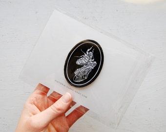 Shedding-Cicada Patch. Woven black & White Stick-On Patch