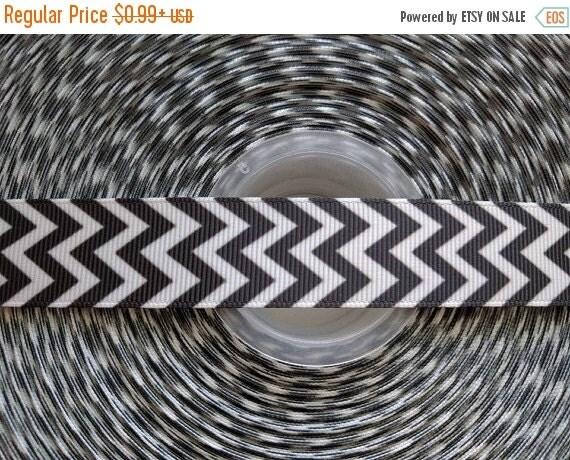 """SUPER SALE BLACK Chevron 7/8"""" 22mm Grosgrain Hair Bow Craft Ribbon 782663"""
