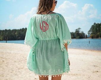 Monogrammed Beach Cover Up*Bridesmaids*Cruises*Beach*Pool*Lake*Vacations*Summer*Personalized Swimsuit Cover*