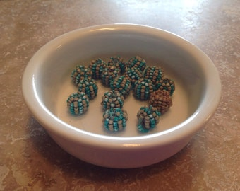Beads lot-beige and green beaded beads
