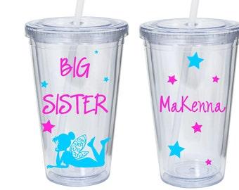New Big Sister, Big Sister Tumbler, Fairy Princess, Sibling Tumbler Personalized Acrylic Tumbler
