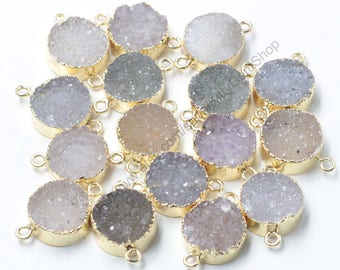 15mm Druzy Connectors Agate Druzy Drusy With Electroplated Gold Edge Charms Wholesale Supplies CQA-056