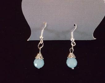 Baby blue gem crystal dangle earrings-lite weight