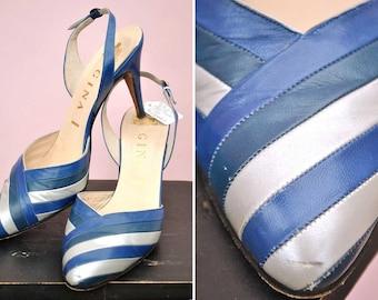Vintage 1980s Electric Blue & Silver Sling Back Gina Sandals • Gina Shoes • High Heels
