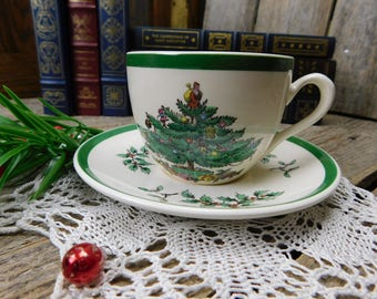 Set of 5 Vintage Spode Christmas Tree Cups and Saucers