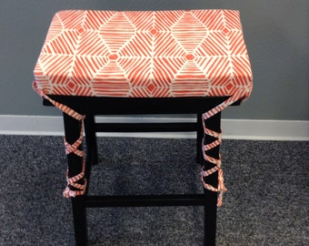 Saddle stool seat cushion w/ ties, rectangular or square cover, kitchen counterstool pad, washable home decor fabric, many fabrics available