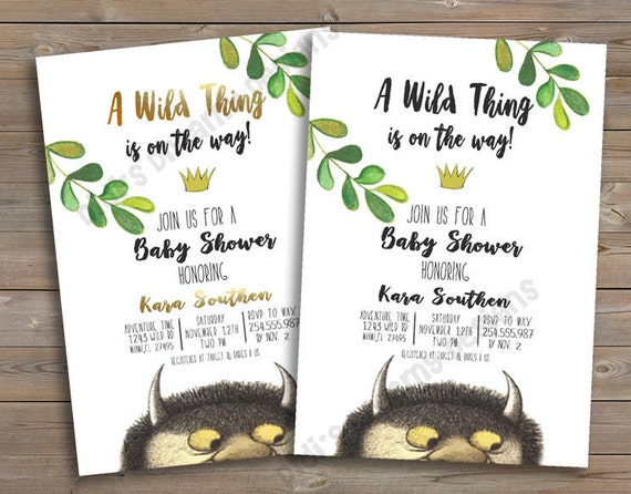 Where the Wild Things Are Baby Shower or Birthday Invitation
