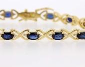 18K Diamond and Blue sapphire bracelet