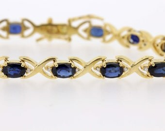 18K Diamond and Blue sapphire bracelet