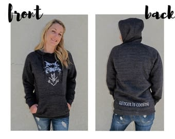Winter Is Coming Embroidered Sweatshirt, House Stark Hoodie, Game of Thrones Hoodie, Direwolf Sweatshirt