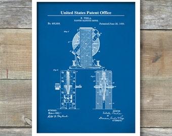 Tesla Magnetic Motor, Patent Print, Tesla Wall Art, Tesla Print, Tesla Patent, Tesla Poster, P463