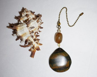 Rustic Gemstone,  Ceiling Fan Pull,  Chain Extension,  Brown Fan Pull,  Agate Protection Gifts,  Handcrafted Gifts, Ready To Ship, CLEARANCE