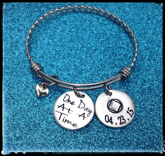 ... , Addiction Recovery Jewelry, Sobriety Date Bangle Bracelet, ENGRAVED