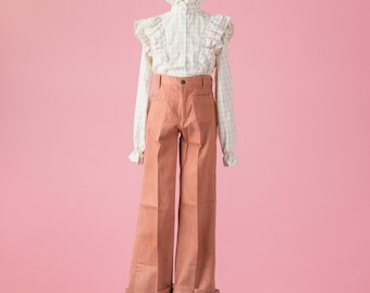 Vintage Terracotta Wide Leg Trousers (Girls Size 12/Slim Fit)