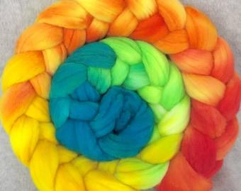Hand Dyed Merino Wool Top - Happy!