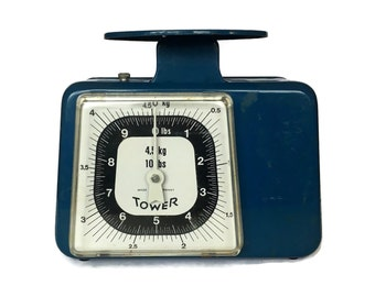 Tower Kitchen Scale, Germany, Blue and White, 1970s Kitchen