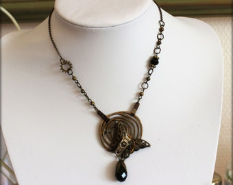 "Collier  ""Papillon mécanique  "" Sublime  collier  Steampunk  Poétique"