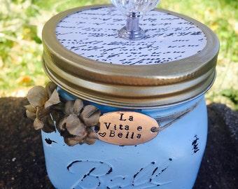 "Keepsake Mason Jar Cinderall Inspired life is beautiful quote in Italian ""la vita e bella"""