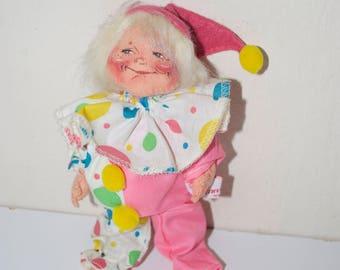"Annalee Mobilitee Pink Clown Doll Doll 7"" 1990"