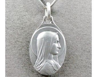 French, Antique Religious Pendant. Saint Virgin Mary. Bernadette Soubirous Lourdes. Medal by Karo.