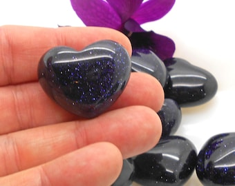 Polished Blue Goldstone Heart for  Metaphysical Work, Reiki, Energy Work, Affirmations, Little Gift, Valentine, I Love You, Heart