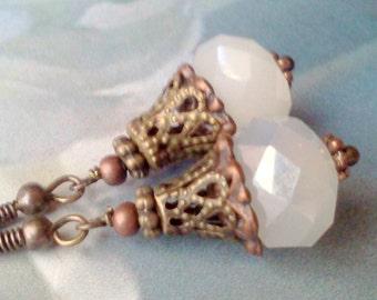"Handmade ""Moon glow"" Earrings,  Faceted Opaque White Earrings, Vintage Style, Victorian Jewelry, Copper and Bronze Earrings, Boho Earrings"