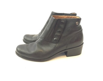 Vintage Black Leather Booties