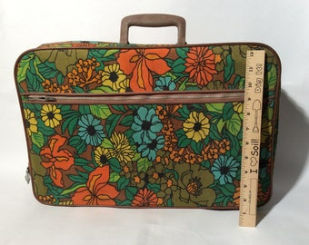 Vintage 1960s Mod Floral Canvas Small Traveller Suitcase/Carry On/Hippie/Tapestry