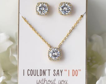 Bridesmaid Gift, Bridesmaid jewelry set, Gold Jewelry Set Wedding Jewelry Set Necklace Set Stud Earrings Pendant Necklace N521G