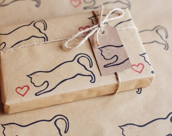 Valentine's Day / Wedding Day Pouncing Cat Wrapping Paper Inc 1 x Gift wrap, 2 x Gift Tags & Twine.