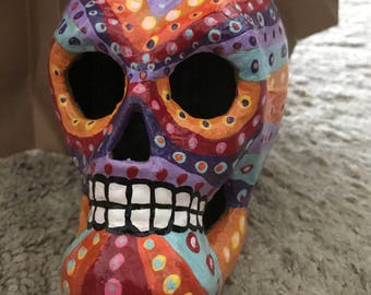"Hand-painted Day of the Dead Skull ""Skittles"""