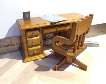 1:12 Scale Wood Desk with Chair