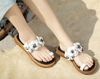 Handmade White Sandals with Flowers, Women's Leather Sandals, Slippers, Flat Shoes, Summer Shoes Sandals for Women
