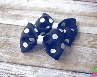 """Black White Polka Dots Hair Bows, Trendy Bows, Baby Hair Bows, Toddler Girls Hair Bows, Hair Clips, 4"""" Hair Bows, Spring Hair Bows, Gifts"""