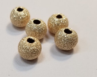 Gold Filled Round Stardust Beads, USA, Seamless, 3mm to 8mm