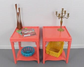 End Tables Night Stands Mid Century Modern Coral Pink Small Set Furniture Vintage Girls Bedroom Nightstands Living Room Table Endtables Wood