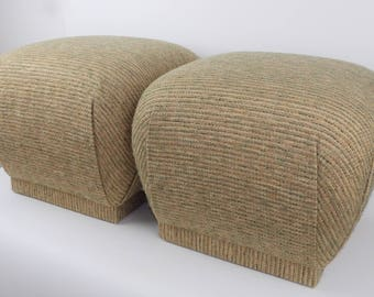 Pouf Ottomans Pair Vintage Mid Century Modern Tweed Wool Fabric Neutral Color Tan, Brown, Green Super Comfy Extra Seating FREE USA SHIPPING!