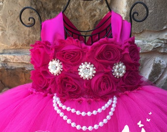 Ready to ship and on SALE!!  Fuchsia Flower Girl Dress, Fuchsia Tutu Dress, Fuchsia Tulle Dress, Fuchsia Dress, Fuchsia Wedding, Fuchsia