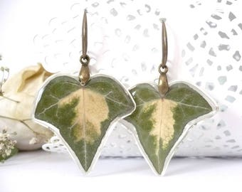Ivy Earrings - Real Ivy Jewelry - Real Flower Jewelry - Real Flower Earrings - Leaf Earrings - Pressed Flower Earrings - Botanical Jewelry