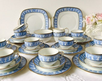 Crown Staffordshire Blue & Black Grecian Tea Set, 34 Pieces, Staffordshire, 1930s.