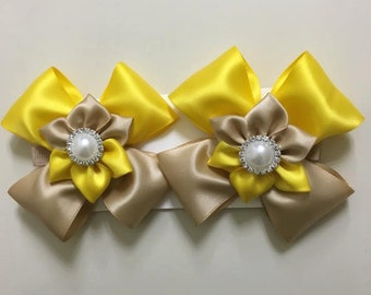 Yellow and beige hair clips, Free Shipping - Handmade by me