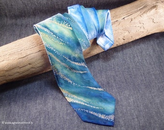 MEN TIE, blue green tie, men necktie, blue green necktie, silk tie, men's ties, handpainting tie, men gift tie, silk necktie, modern tie