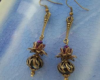 Vintage Style Steampunk Thistle Earrings