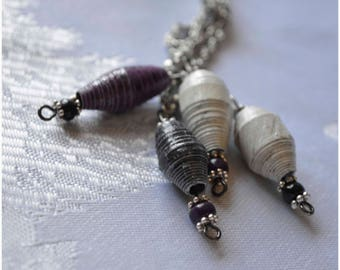 """Handmade Paper Bead """"Cluster"""" Necklace - Black, Purple and White"""