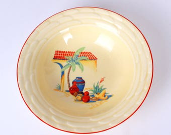 Mt. Clemens Pottery Cereal Bowls w/Mexican Decals, Set of 6