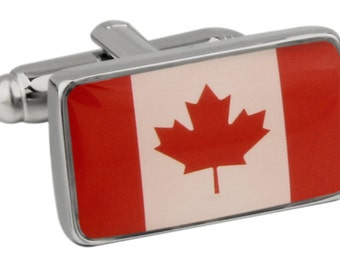 Shiny Red Canada Flag True North Canadian Maple Cufflinks Cuff Links