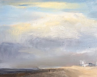 Just before the storm, plein air seascape, skyscape, original oil painting